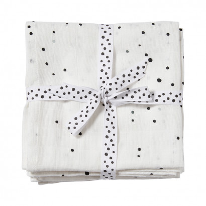 done by deer wrap 120 x 120 cm (2er Set) dreamy dots, white