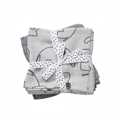 done by deer swaddle contour grey, 120 x 120 cm (2er Set)