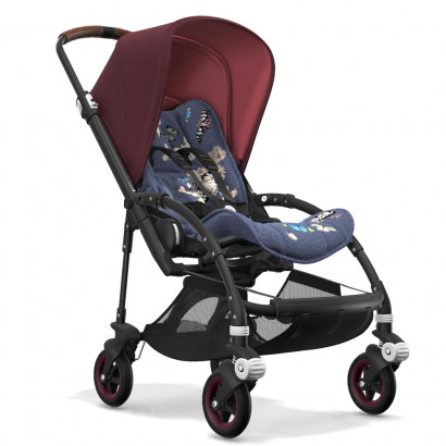 Bugaboo Bee5 black chassis, botanic/Rot meliert
