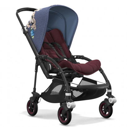 Bugaboo Bee5 black chassis, rot meliert/botanic