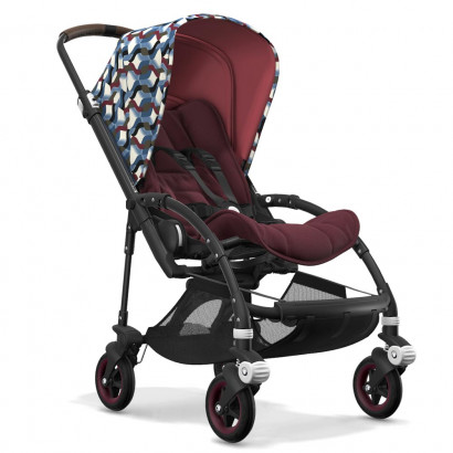 Bugaboo Bee5 black chassis, rot meliert/waves