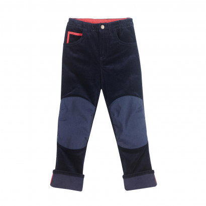 KUUSI, 5-Pocket Kordhose mit Kniebesatz, navy/red, Gr. 90/100