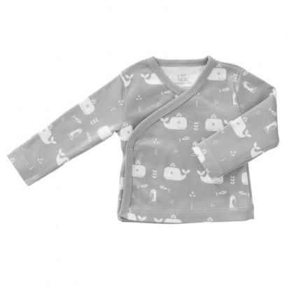 Fresk Wickelshirt Whale, dawn grey Gr. 0-3M