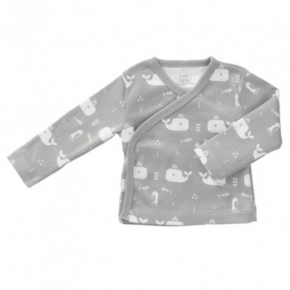 Fresk Wickelshirt Whale, dawn grey Gr. 3-6M