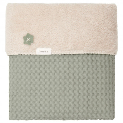Koeka Babydecke Waffel/Teddy Oslo,shadow green/soft sand