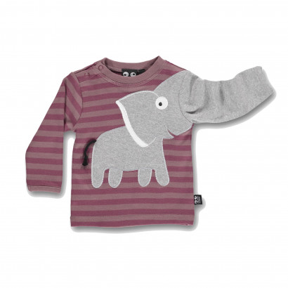 Baby Elephant Tee wood rose stripe